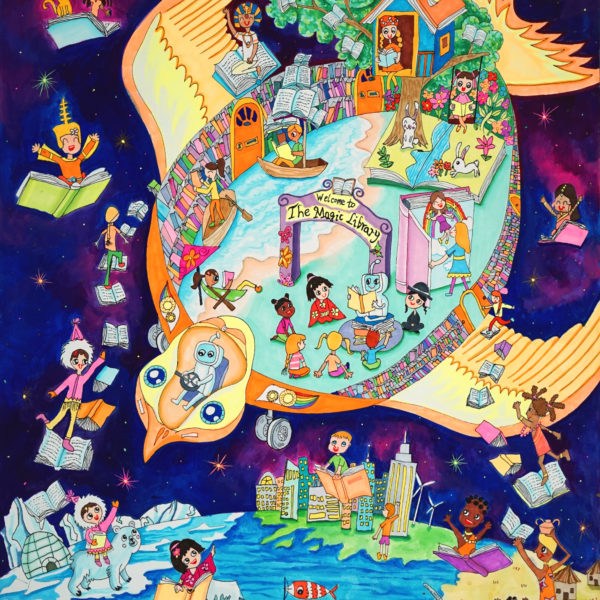 The Magic Library Car youth art contest entry 2019 by Grace Sun elementary student